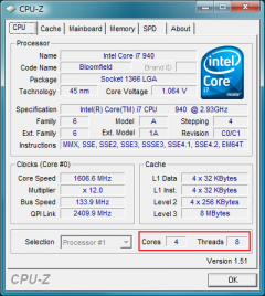 CPU-Z: Core i7 940: 4cores, 8threads