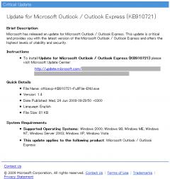 SPAM: Microsoft Outlook Critial Update