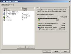 VMWare 1.x: Virtual Machine Settings: Hardware