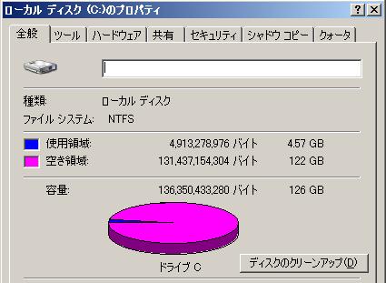 Windows 2003: ディスク容量 127GB