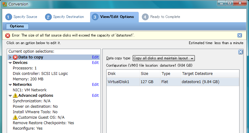 vCenter Converter: Flat: 127GB