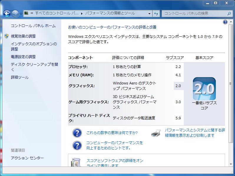Eee PC 901-X: Windows エクスペリエンス インデックス
