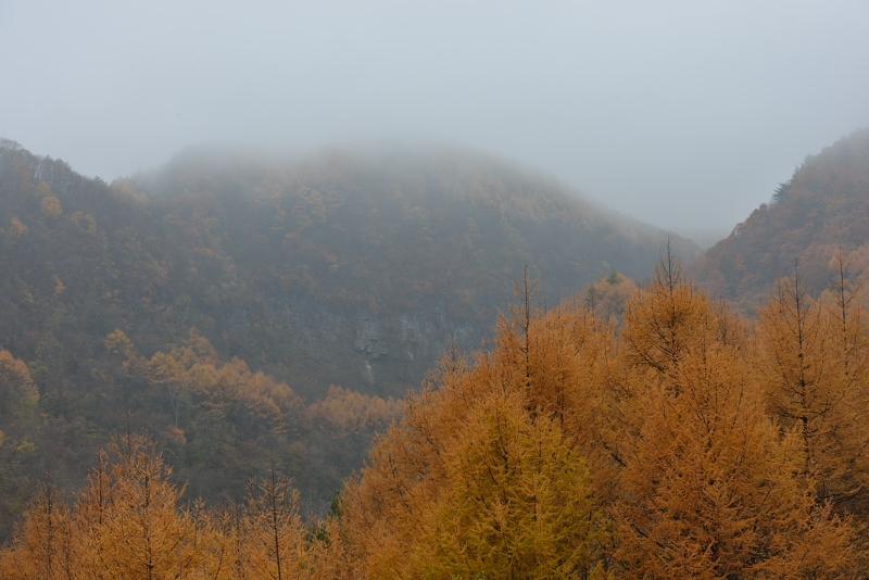 吾妻渓谷: 靄のかかった山: D800: 70-200mm f/2.8G 70mm F8 1/4sec EV0 ISO100 WB曇天-B1