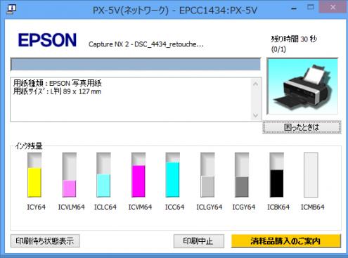 PX-5V: インク残量: ヘッドクリーニング後