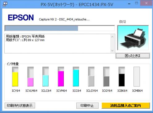 PX-5V: インク残量: ヘッドクリーニング前