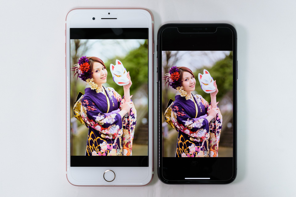 iPhone 7 Plus vs. iPhone X: ペルソナ: True Tone: OFF