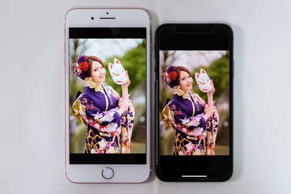 iPhone 7 Plus vs. iPhone X: ペルソナ: True Tone: ON