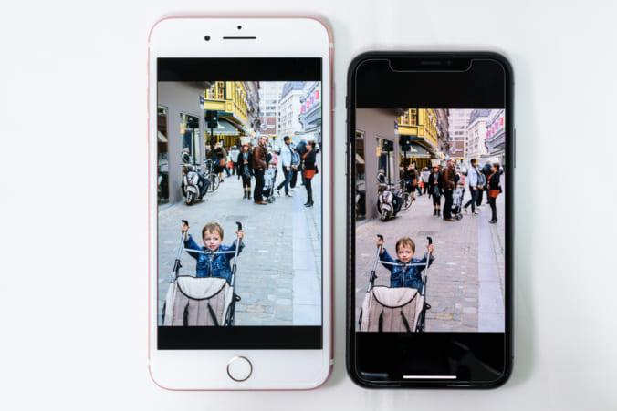 iPhone 7 Plus vs. iPhone X: したり顔: True Tone: ON