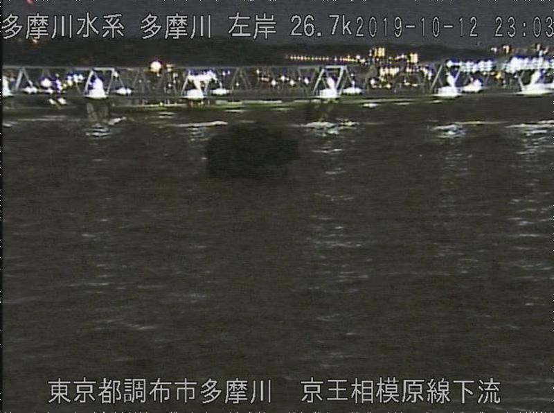台風19号: 多摩川: 監視カメラの映像